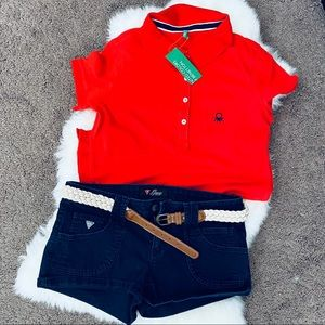 Bundle Benetton Red Shirt & Guess Shorts